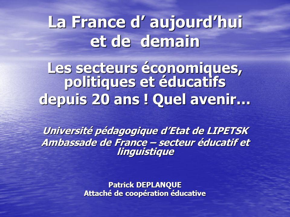 La France d aujourdhui et de demain Les secteurs économiques, politiques et éducatifs depuis 20 ans ! Quel avenir… Université pédagogique dEtat de LIP