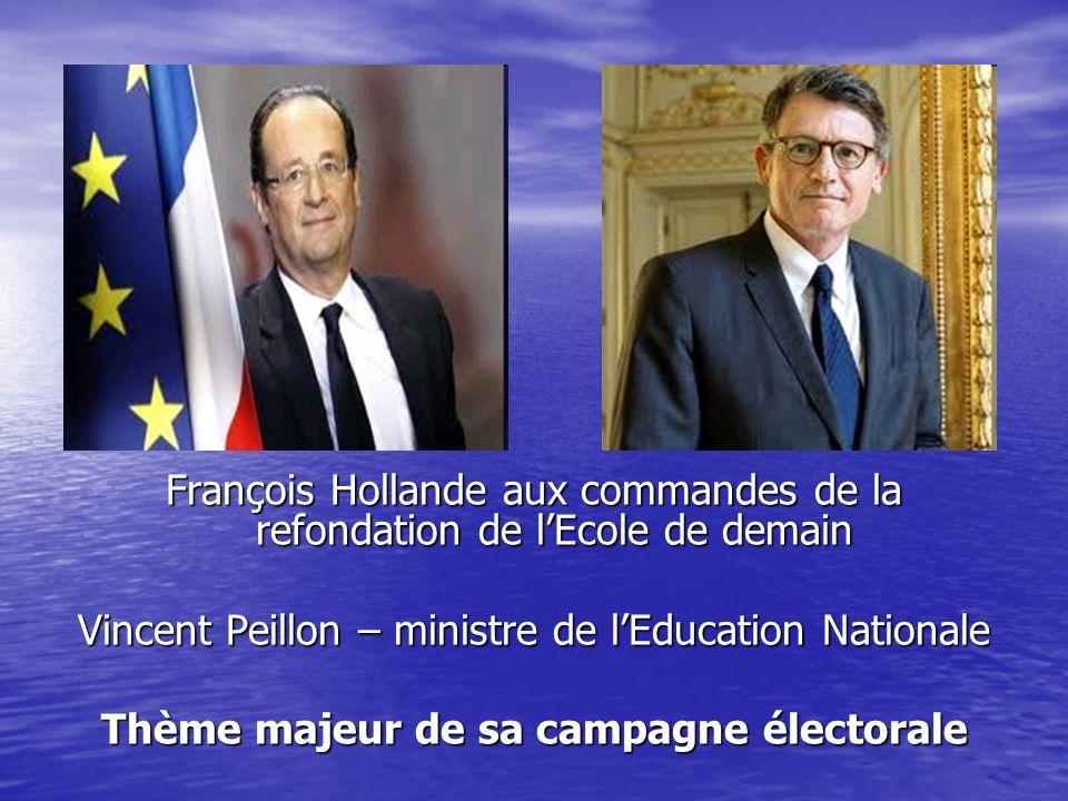 François Hollande aux commandes de la refondation de lEcole de demain Vincent Peillon – ministre de lEducation Nationale Thème majeur de sa campagne é