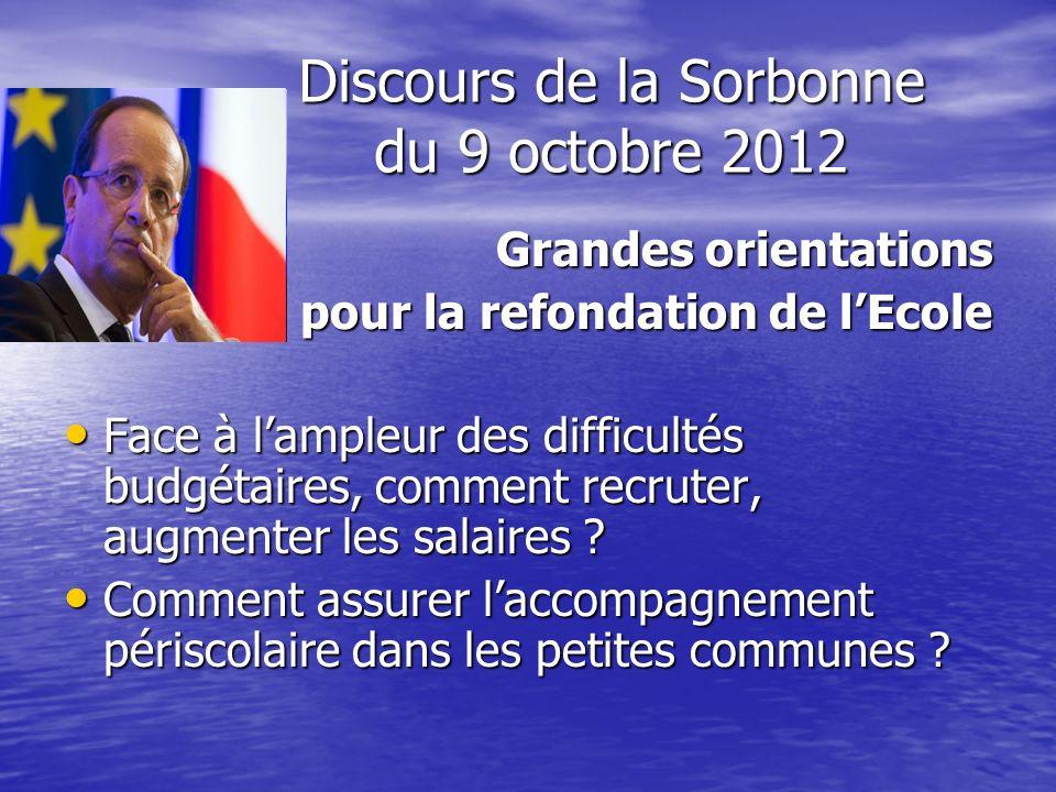 Discours de la Sorbonne du 9 octobre 2012 Grandes orientations pour la refondation de lEcole pour la refondation de lEcole Face à lampleur des difficu