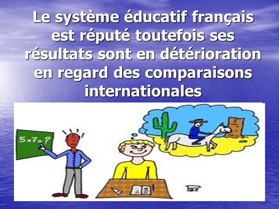 Le système éducatif français est réputé toutefois ses résultats sont en détérioration en regard des comparaisons internationales