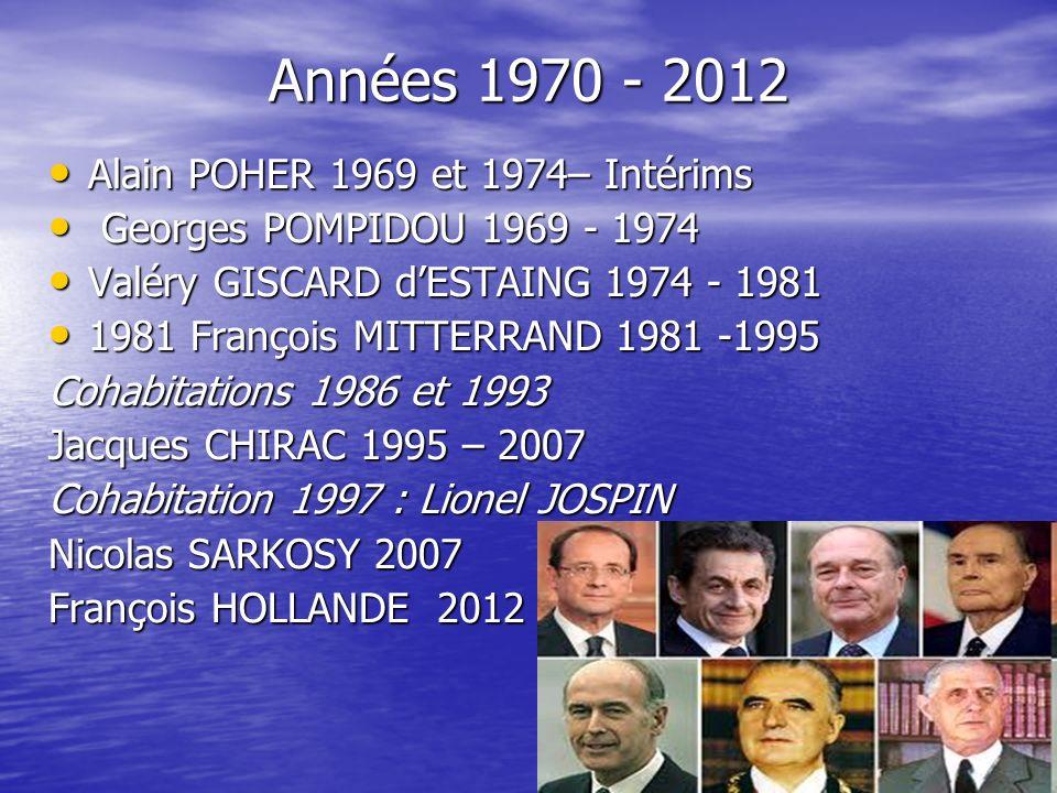 Années 1970 - 2012 Alain POHER 1969 et 1974– Intérims Alain POHER 1969 et 1974– Intérims Georges POMPIDOU 1969 - 1974 Georges POMPIDOU 1969 - 1974 Val