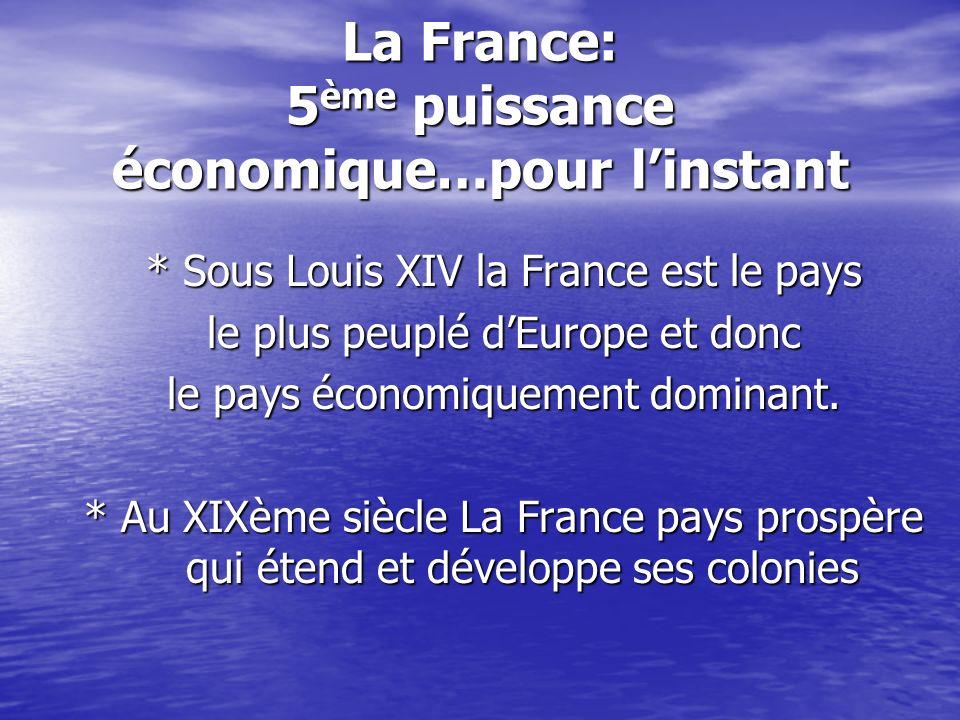La France: 5 ème puissance économique…pour linstant * Sous Louis XIV la France est le pays le plus peuplé dEurope et donc le pays économiquement domin