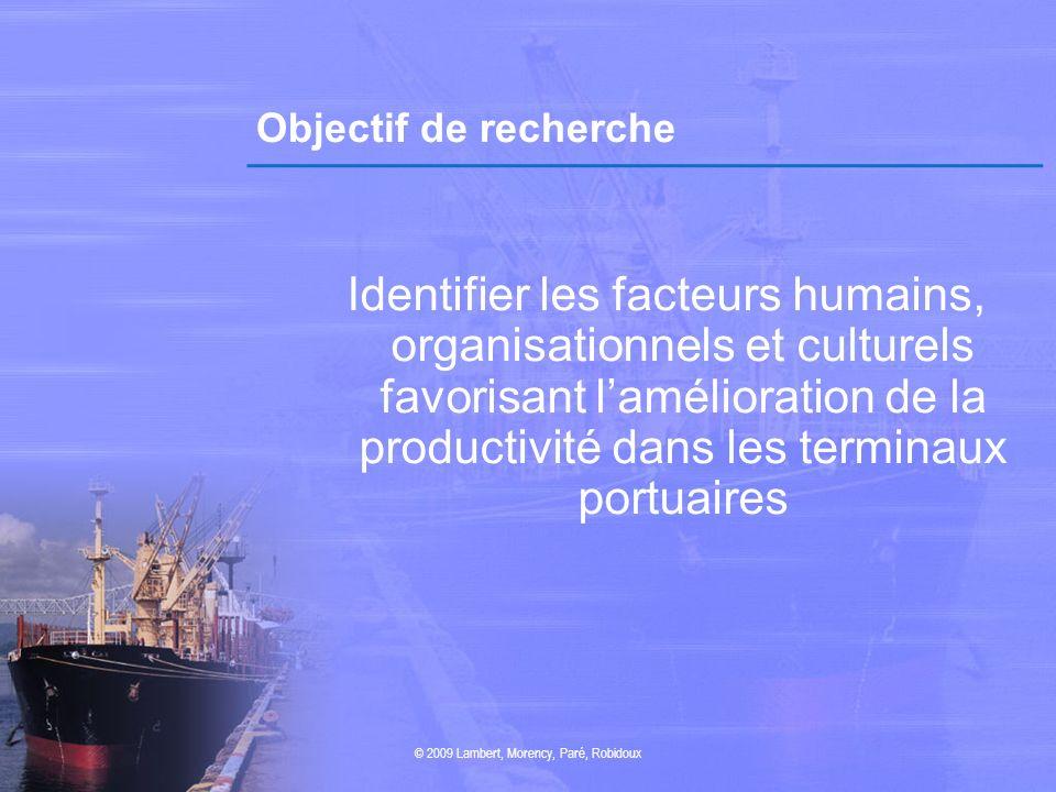 Objectif de recherche Identifier les facteurs humains, organisationnels et culturels favorisant lamélioration de la productivité dans les terminaux po