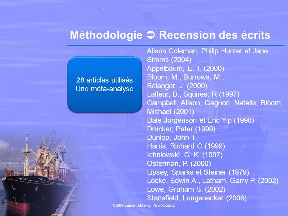Méthodologie Recension des écrits © 2009 Lambert, Morency, Paré, Robidoux 28 articles utilisés Une méta-analyse 28 articles utilisés Une méta-analyse