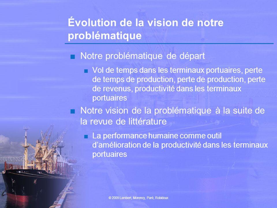 Évolution de la vision de notre problématique Notre problématique de départ Vol de temps dans les terminaux portuaires, perte de temps de production,