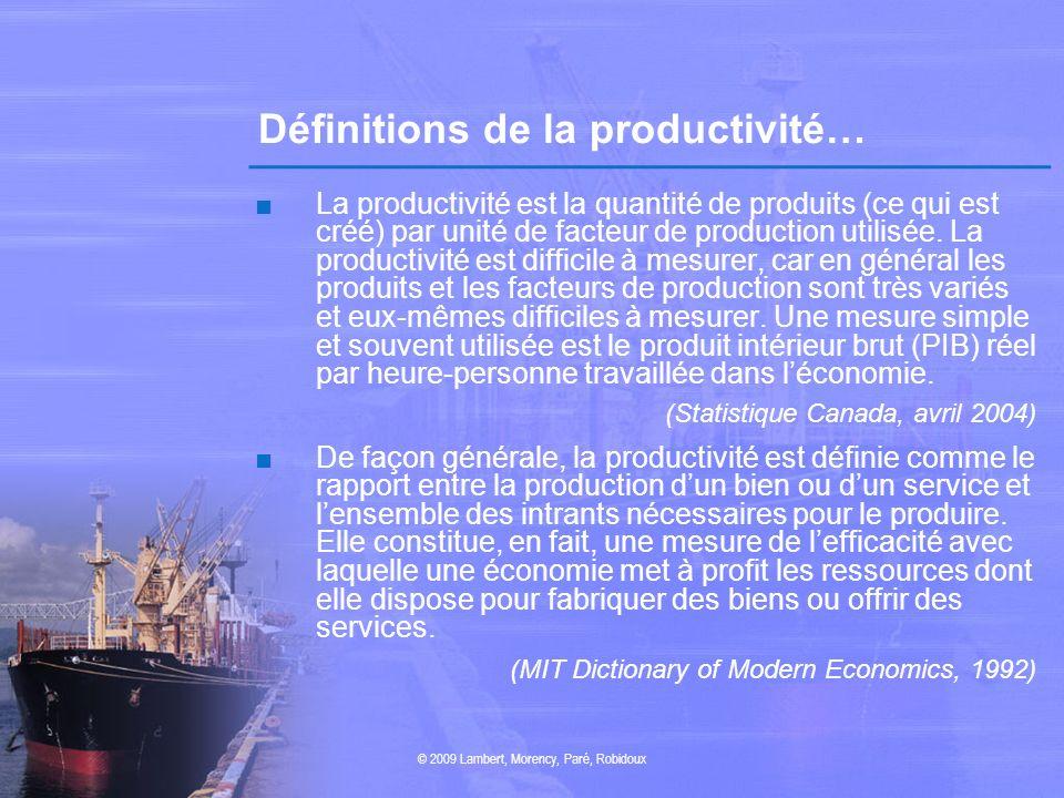 Définitions de la productivité… La productivité est la quantité de produits (ce qui est créé) par unité de facteur de production utilisée. La producti