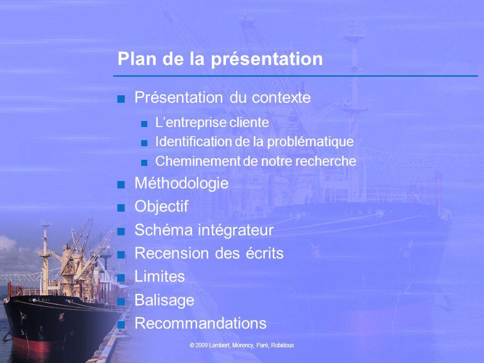 Plan de la présentation Présentation du contexte Lentreprise cliente Identification de la problématique Cheminement de notre recherche Méthodologie Ob