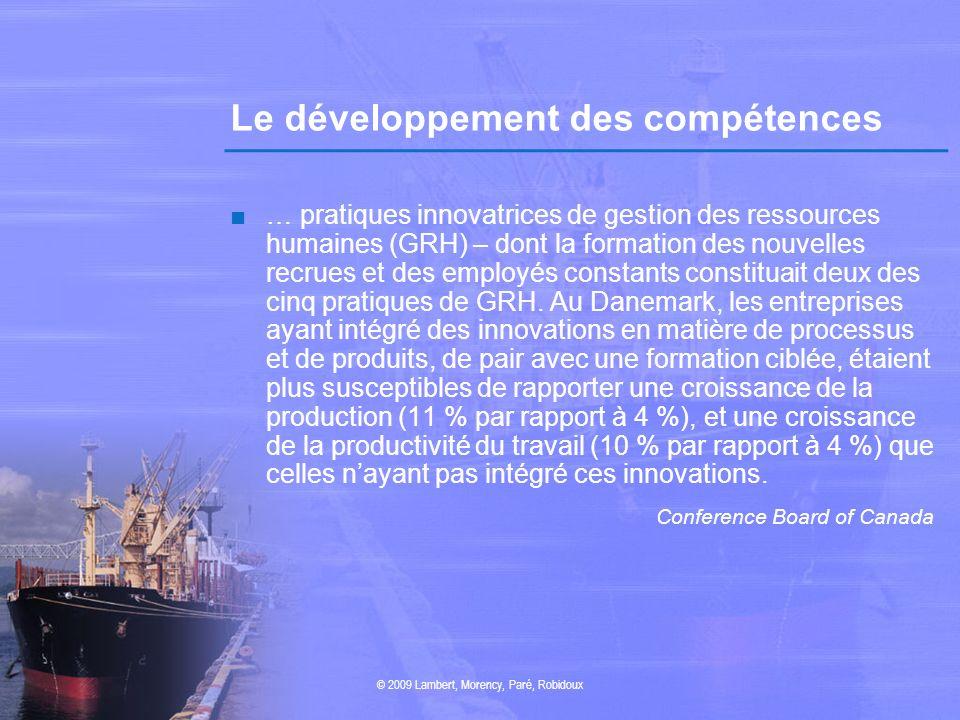 Le développement des compétences … pratiques innovatrices de gestion des ressources humaines (GRH) – dont la formation des nouvelles recrues et des em