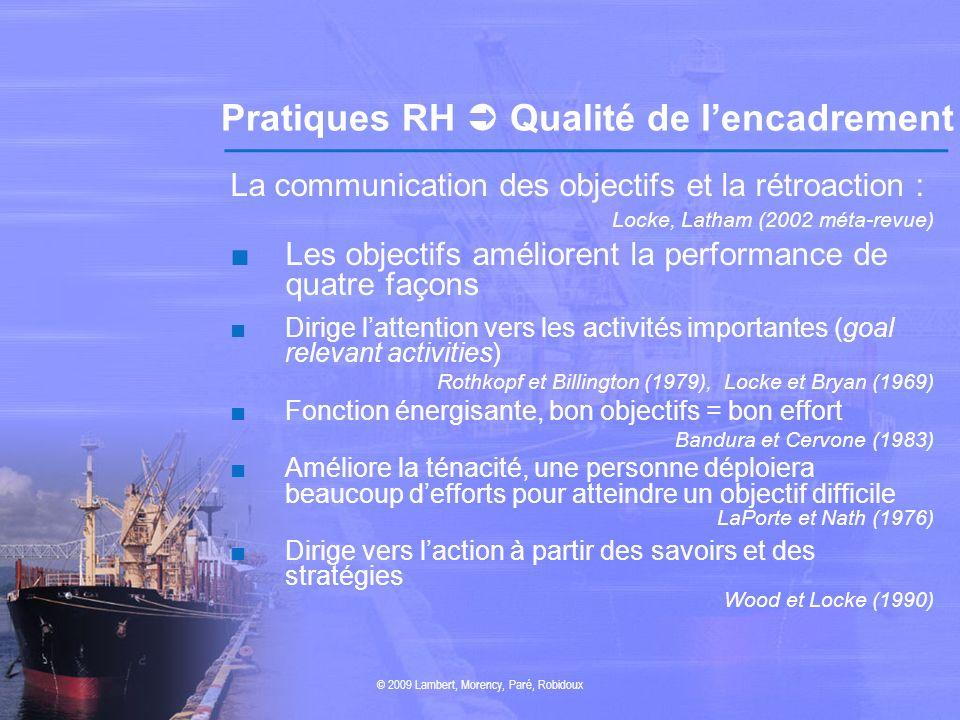Pratiques RH Qualité de lencadrement La communication des objectifs et la rétroaction : Locke, Latham (2002 méta-revue) Les objectifs améliorent la pe