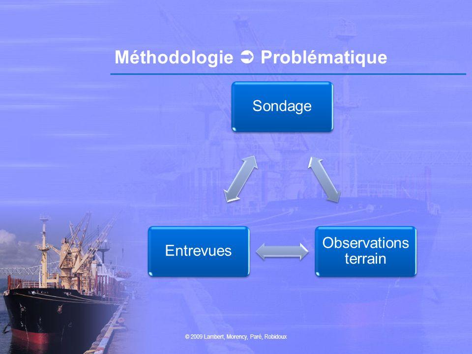 Méthodologie Problématique Sondage Observations terrain Entrevues © 2009 Lambert, Morency, Paré, Robidoux