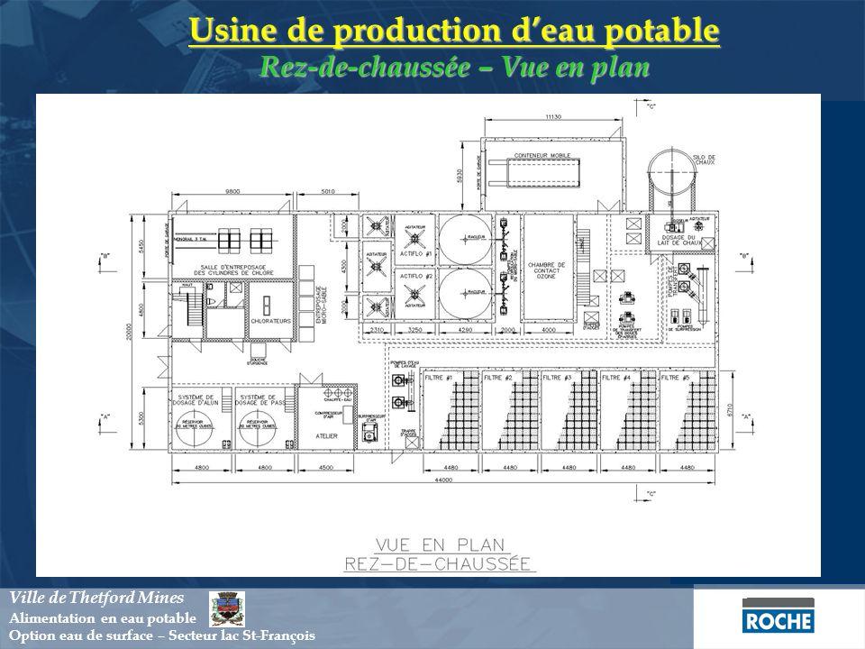 Usine de production deau potable Coupe A-A Ville de Thetford Mines Alimentation en eau potable Option eau de surface – Secteur lac St-François