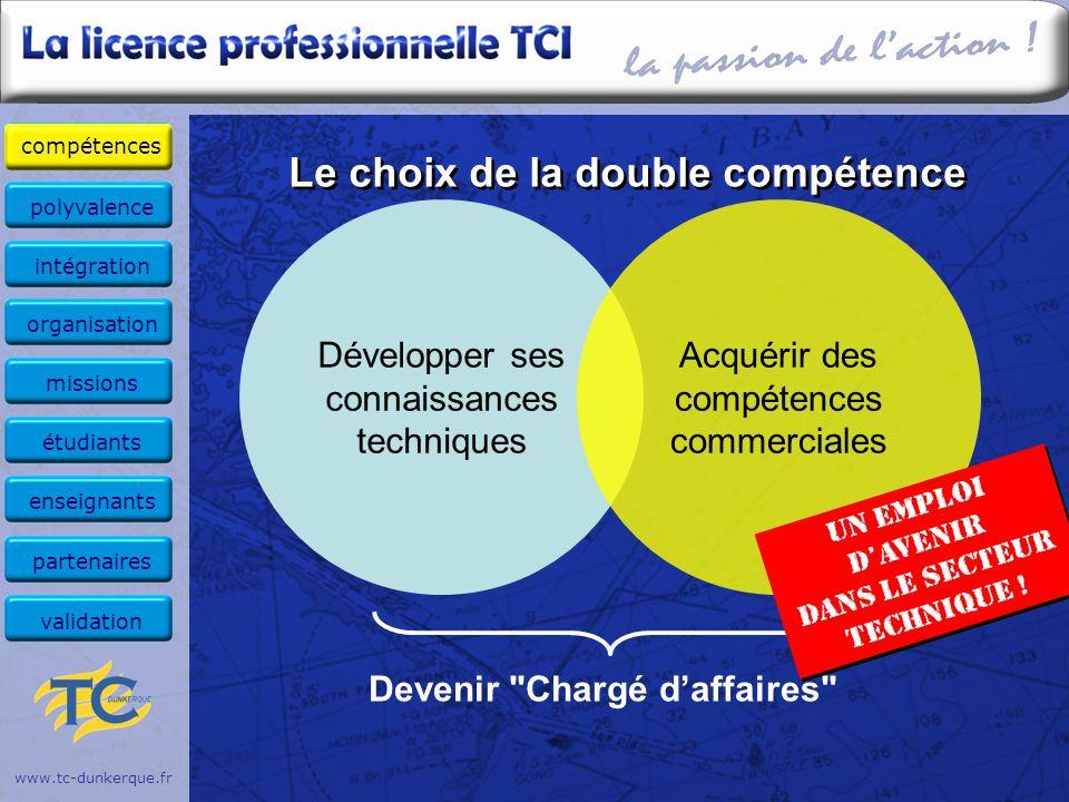 Le choix de la double compétence www.tc-dunkerque.fr Développer ses connaissances techniques Acquérir des compétences commerciales Devenir