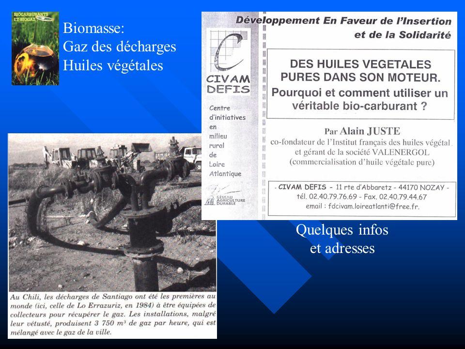 Biomasse: Bio-gaz et Bio-carburants Cultures de plantes pour éthanol. Fermentation: déchets, boues, etc…