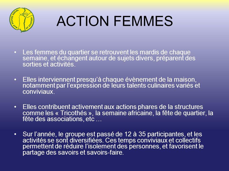 ACTION FEMMES Les femmes du quartier se retrouvent les mardis de chaque semaine, et échangent autour de sujets divers, préparent des sorties et activi