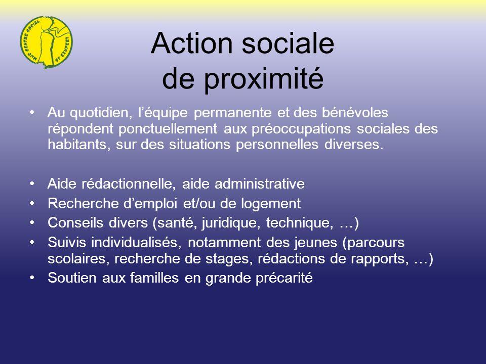 Action sociale de proximité Au quotidien, léquipe permanente et des bénévoles répondent ponctuellement aux préoccupations sociales des habitants, sur