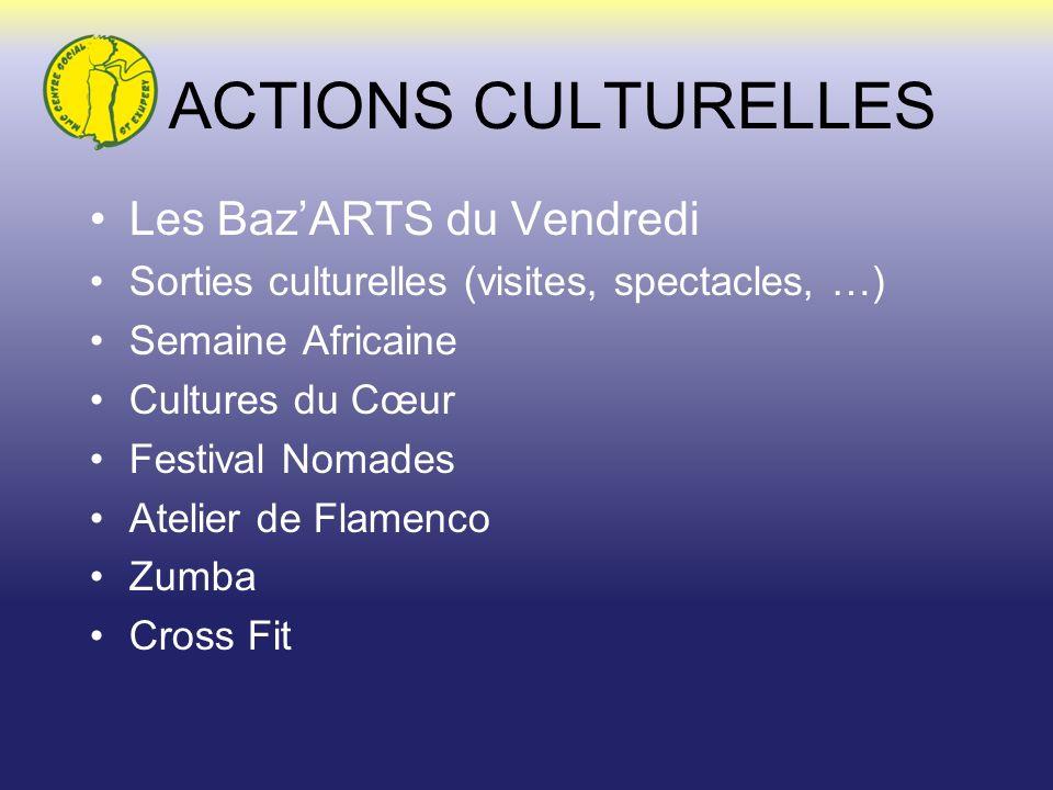 ACTIONS CULTURELLES Les BazARTS du Vendredi Sorties culturelles (visites, spectacles, …) Semaine Africaine Cultures du Cœur Festival Nomades Atelier d