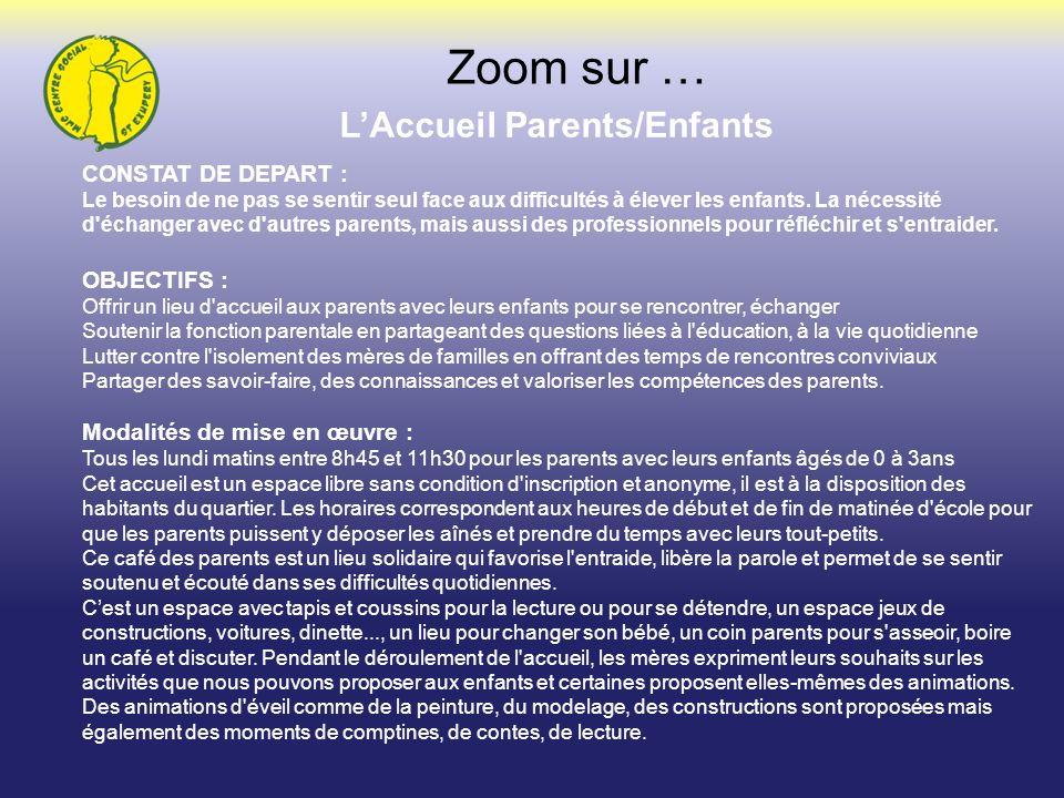 LAccueil Parents/Enfants Zoom sur … CONSTAT DE DEPART : Le besoin de ne pas se sentir seul face aux difficultés à élever les enfants. La nécessité d'é
