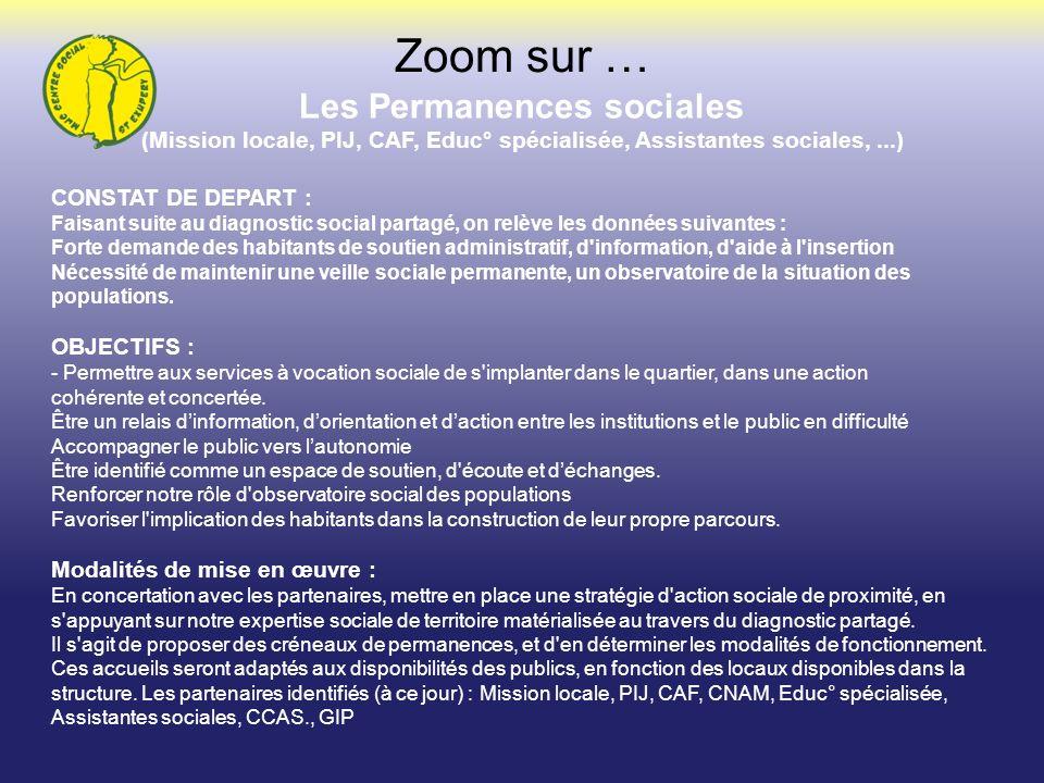 Les Permanences sociales (Mission locale, PIJ, CAF, Educ° spécialisée, Assistantes sociales,...) Zoom sur … CONSTAT DE DEPART : Faisant suite au diagn