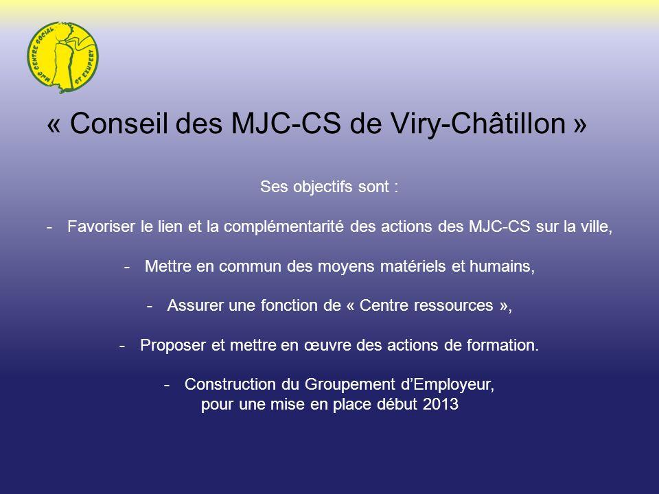 « Conseil des MJC-CS de Viry-Châtillon » Ses objectifs sont : -Favoriser le lien et la complémentarité des actions des MJC-CS sur la ville, -Mettre en