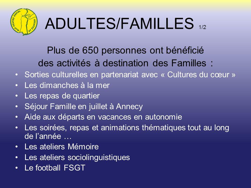 ADULTES/FAMILLES 1/2 Plus de 650 personnes ont bénéficié des activités à destination des Familles : Sorties culturelles en partenariat avec « Cultures