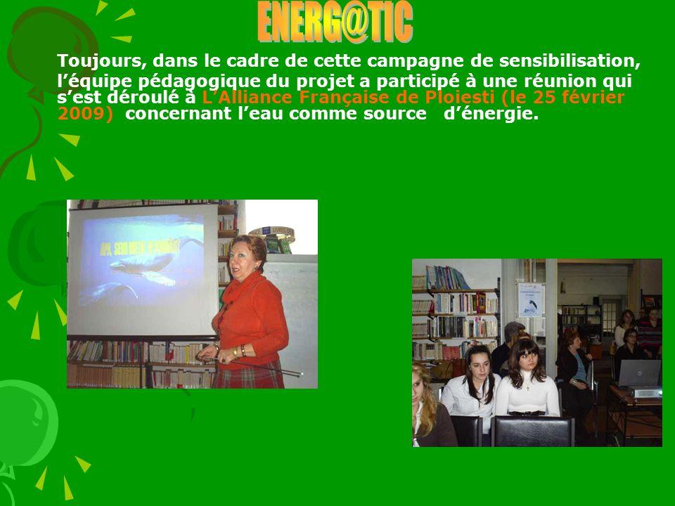 Toujours, dans le cadre de cette campagne de sensibilisation, léquipe pédagogique du projet a participé à une réunion qui sest déroulé à LAlliance Fra