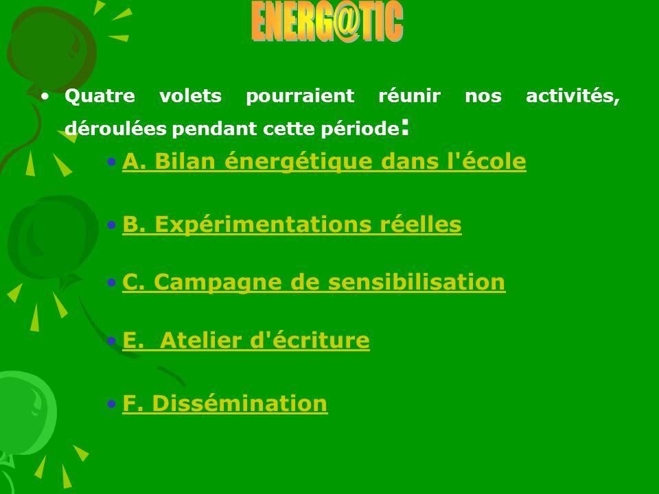 Quatre volets pourraient réunir nos activités, déroulées pendant cette période : A. Bilan énergétique dans l'école B. Expérimentations réelles C. Camp
