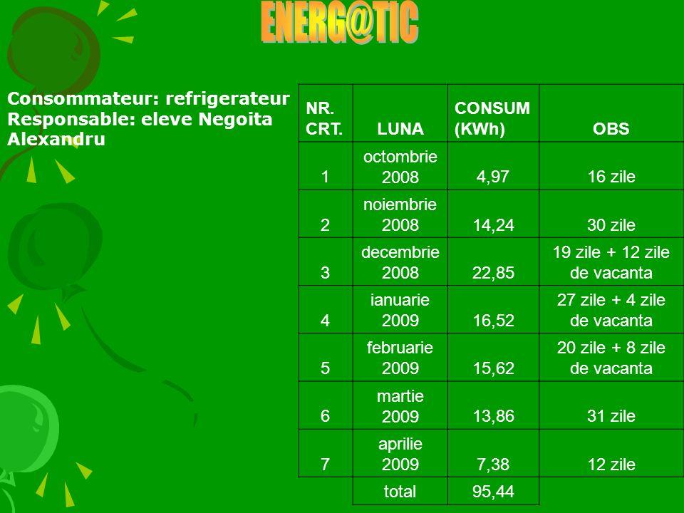 Consommateur: refrigerateur Responsable: eleve Negoita Alexandru NR. CRT.LUNA CONSUM (KWh)OBS 1 octombrie 20084,9716 zile 2 noiembrie 200814,2430 zile