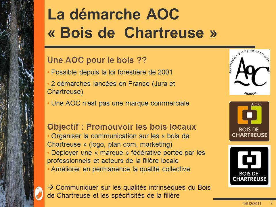 7 14/12/2011 La démarche AOC « Bois de Chartreuse » Une AOC pour le bois ?? Possible depuis la loi forestière de 2001 2 démarches lancées en France (J
