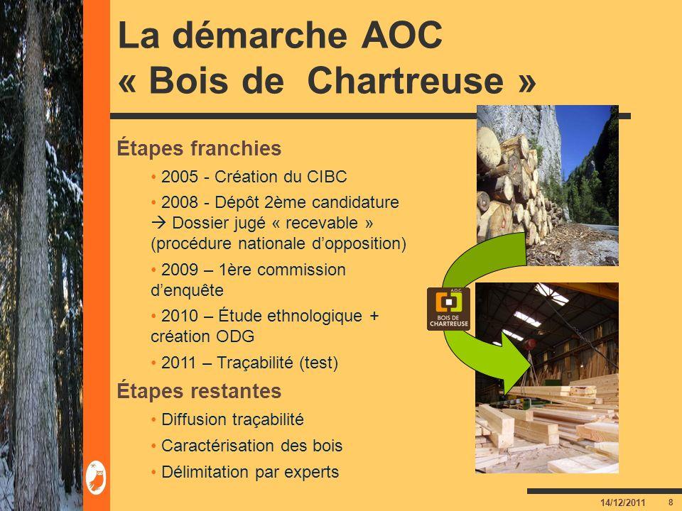 8 14/12/2011 La démarche AOC « Bois de Chartreuse » Étapes franchies 2005 - Création du CIBC 2008 - Dépôt 2ème candidature Dossier jugé « recevable »