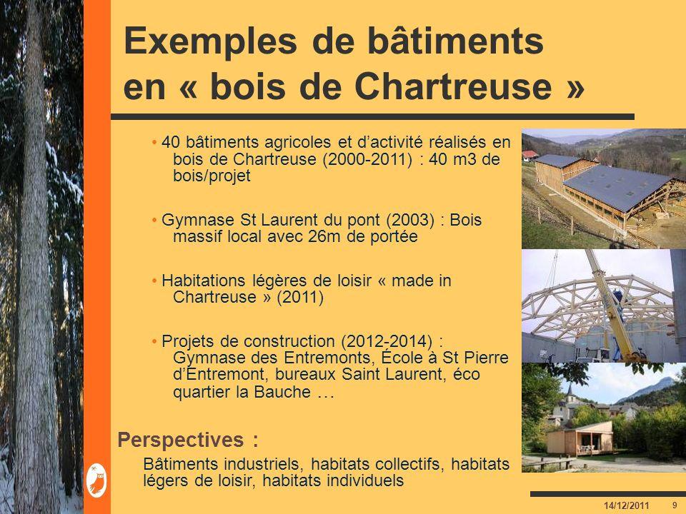 9 14/12/2011 Exemples de bâtiments en « bois de Chartreuse » 40 bâtiments agricoles et dactivité réalisés en bois de Chartreuse (2000-2011) : 40 m3 de