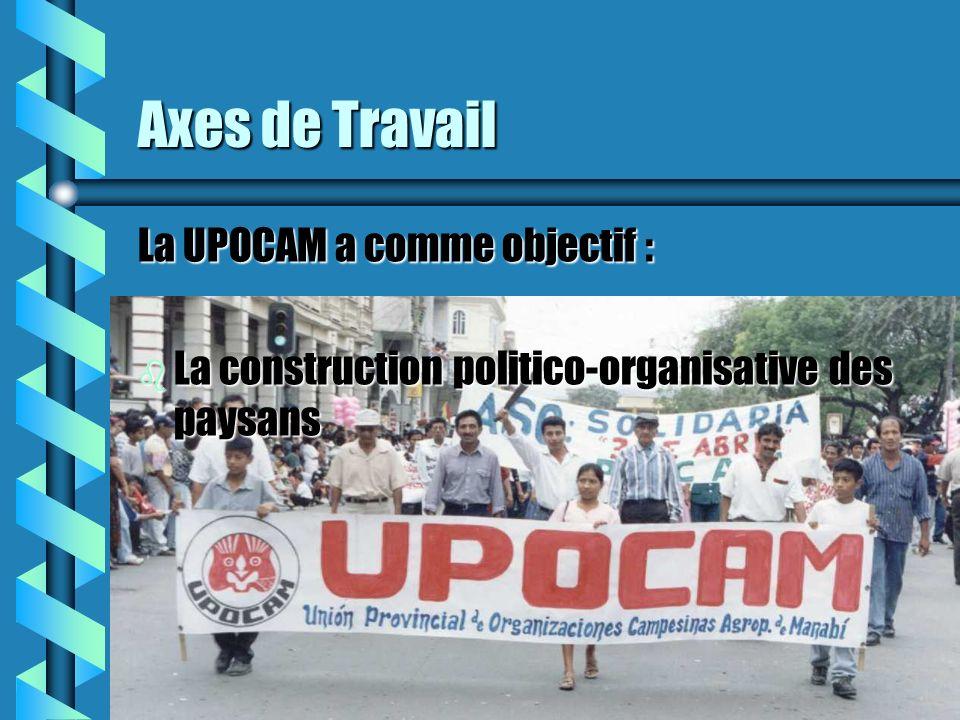 Axes de Travail La UPOCAM a comme objectif : b La construction politico-organisative des paysans
