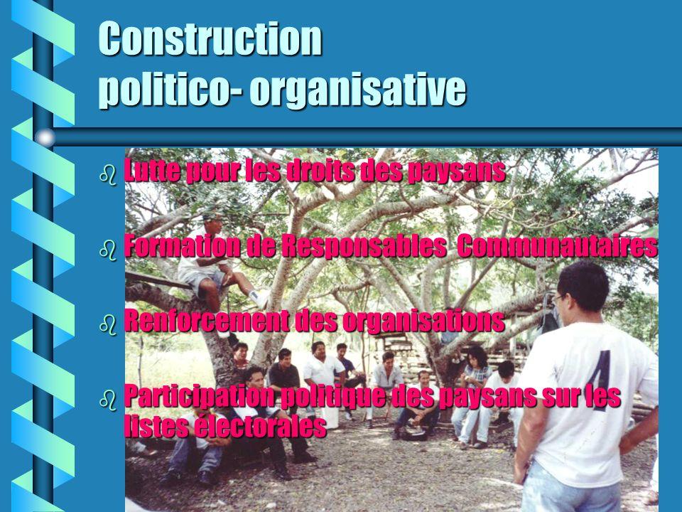 Construction politico- organisative b Lutte pour les droits des paysans b Formation de Responsables Communautaires b Renforcement des organisations b Participation politique des paysans sur les listes électorales