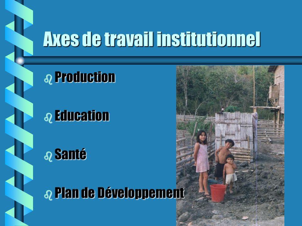 Axes de travail institutionnel b Production b Education b Santé b Plan de Développement