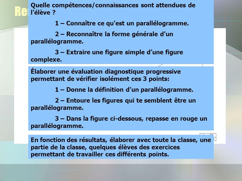 Remédiation pour lexercice 16 Quelle compétences/connaissances sont attendues de lélève ? 1 – Connaître ce quest un parallélogramme. 2 – Reconnaître l