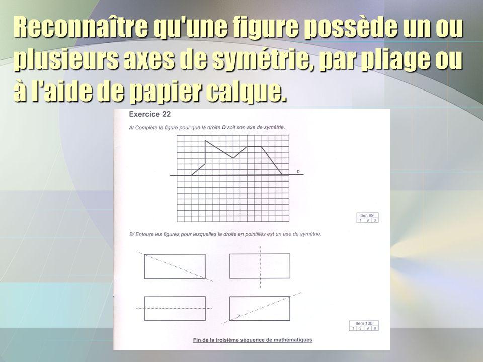 Reconnaître qu'une figure possède un ou plusieurs axes de symétrie, par pliage ou à l'aide de papier calque.