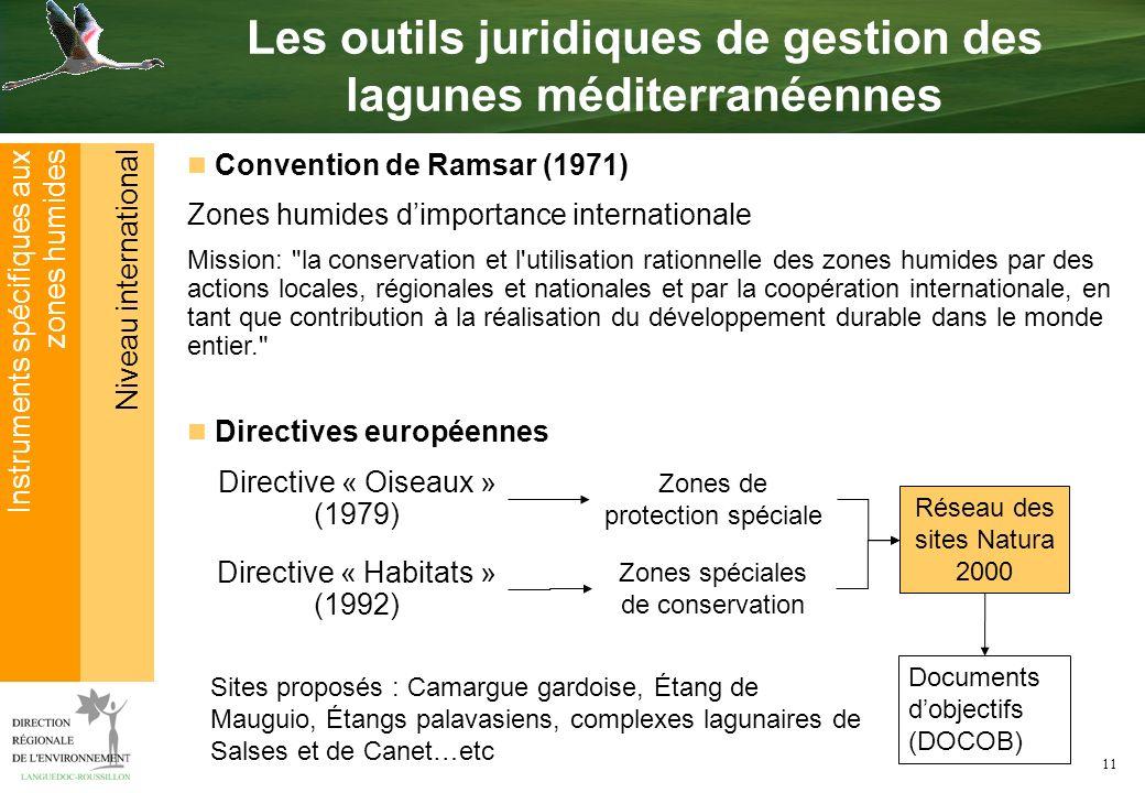 11 Niveau international Instruments spécifiques aux zones humides Les outils juridiques de gestion des lagunes méditerranéennes Convention de Ramsar (