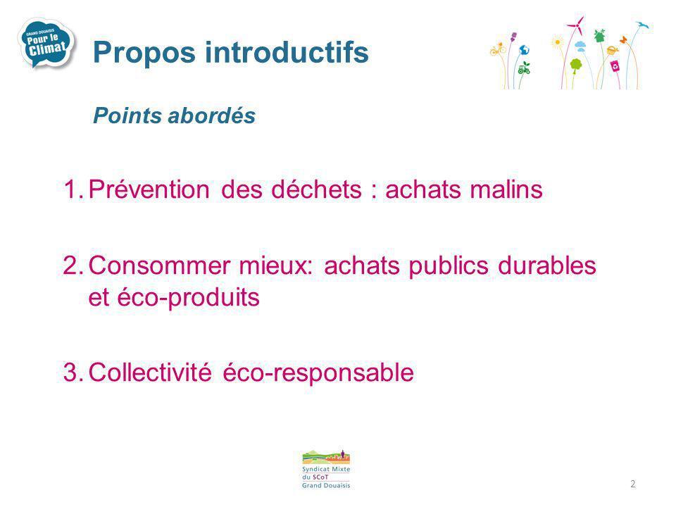 Propos introductifs Points abordés 1.Prévention des déchets : achats malins 2.Consommer mieux: achats publics durables et éco-produits 3.Collectivité