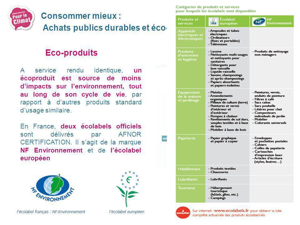 Eco-produits A service rendu identique, un écoproduit est source de moins dimpacts sur lenvironnement, tout au long de son cycle de vie, par rapport à