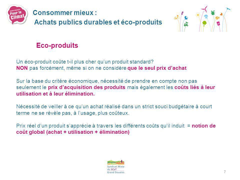 7 Eco-produits Un éco-produit coûte t-il plus cher quun produit standard? NON pas forcément, même si on ne considère que le seul prix dachat Sur la ba