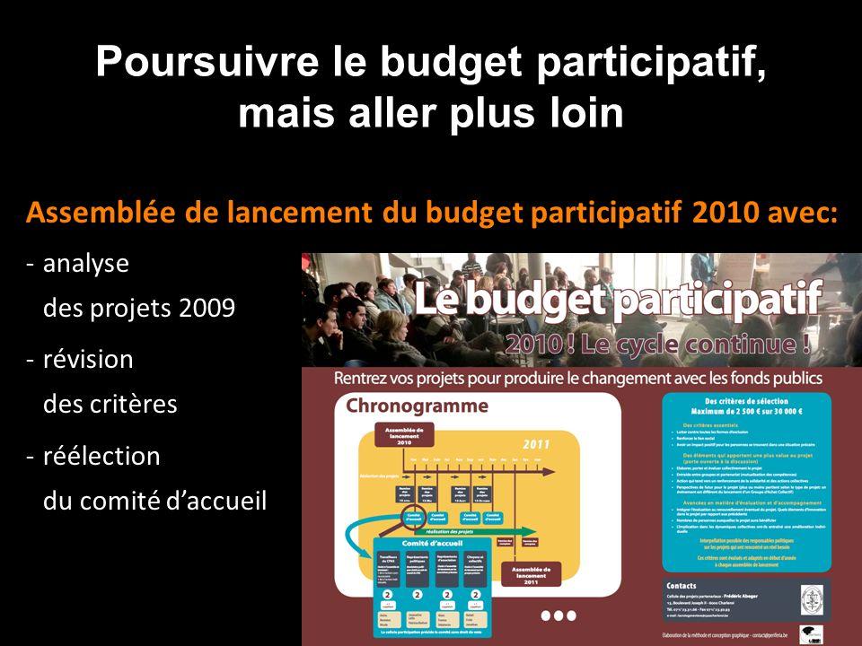 Poursuivre le budget participatif, mais aller plus loin Assemblée de lancement du budget participatif 2010 avec: -analyse des projets 2009 -révision des critères -réélection du comité daccueil