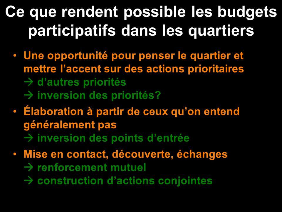Ce que rendent possible les budgets participatifs dans les quartiers Une opportunité pour penser le quartier et mettre laccent sur des actions prioritaires dautres priorités inversion des priorités.