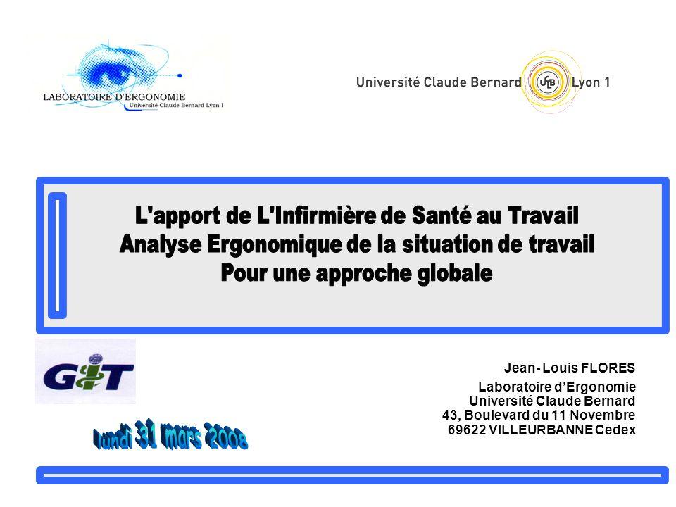 Jean- Louis FLORES Laboratoire dErgonomie Université Claude Bernard 43, Boulevard du 11 Novembre 69622 VILLEURBANNE Cedex