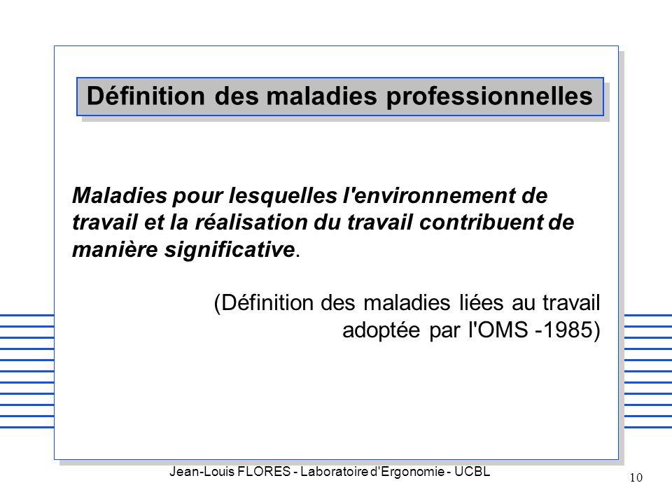Jean-Louis FLORES - Laboratoire d'Ergonomie - UCBL 10 Définition des maladies professionnelles Maladies pour lesquelles l'environnement de travail et