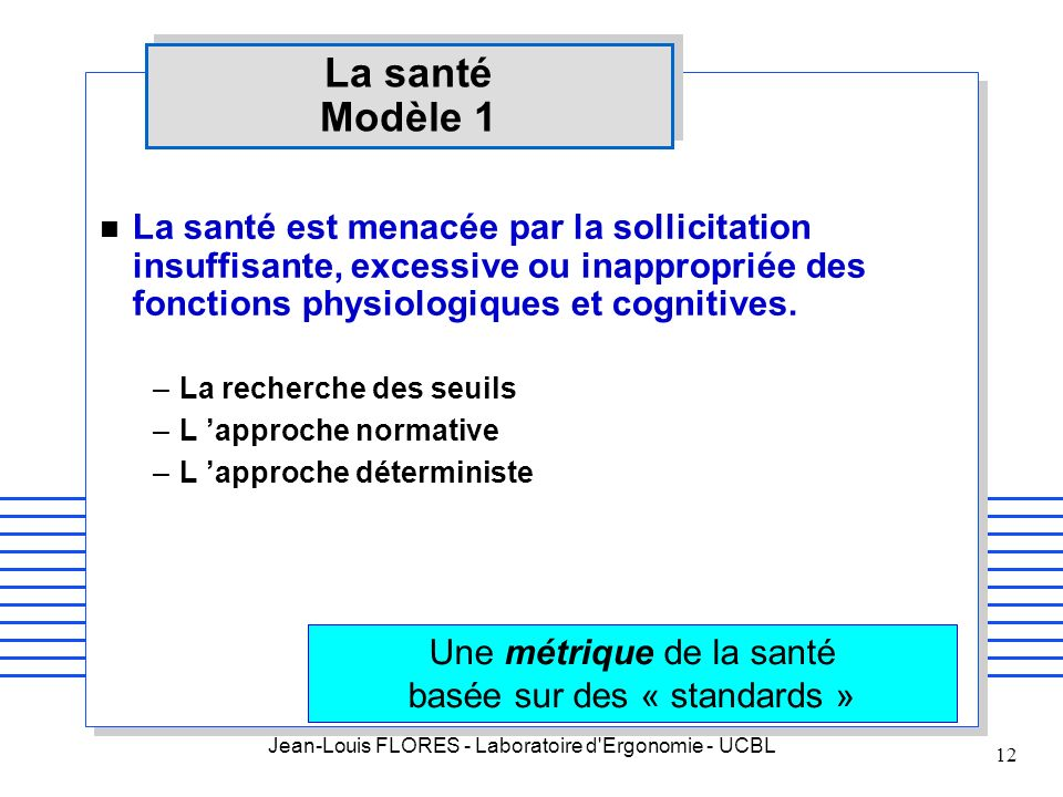 Jean-Louis FLORES - Laboratoire d'Ergonomie - UCBL 12 La santé Modèle 1 n La santé est menacée par la sollicitation insuffisante, excessive ou inappro