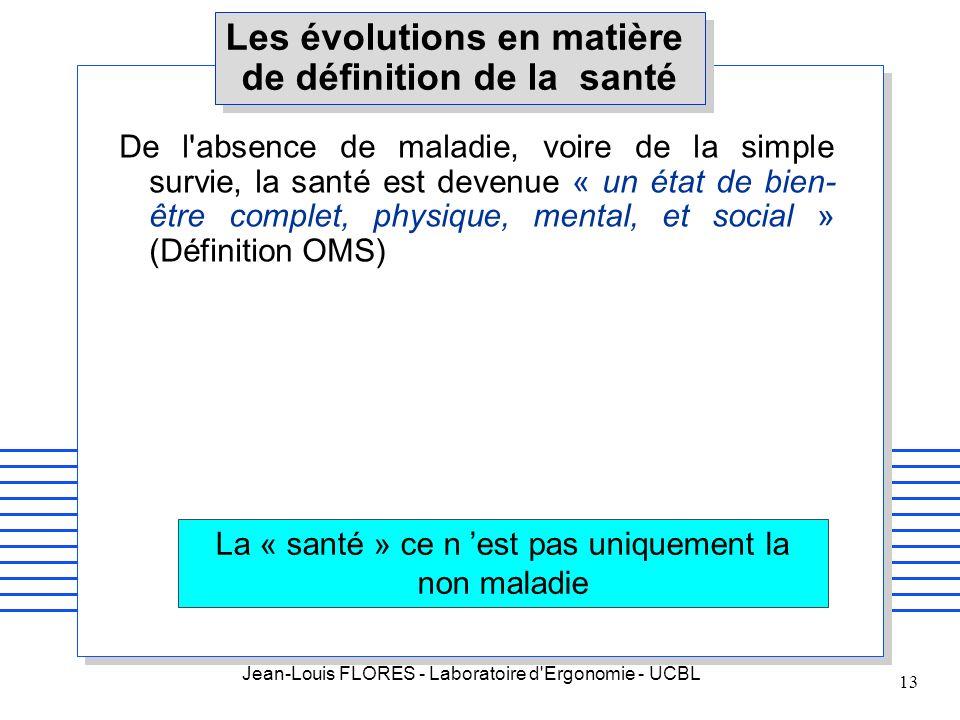 Jean-Louis FLORES - Laboratoire d'Ergonomie - UCBL 13 Les évolutions en matière de définition de la santé De l'absence de maladie, voire de la simple