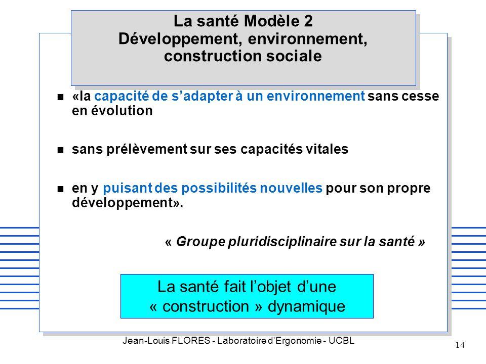 Jean-Louis FLORES - Laboratoire d'Ergonomie - UCBL 14 La santé Modèle 2 Développement, environnement, construction sociale n «la capacité de sadapter