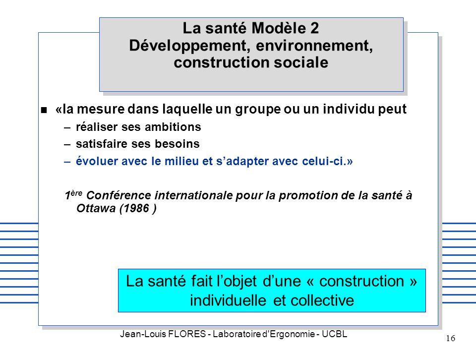 Jean-Louis FLORES - Laboratoire d'Ergonomie - UCBL 16 La santé Modèle 2 Développement, environnement, construction sociale n «la mesure dans laquelle