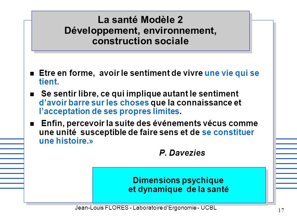 Jean-Louis FLORES - Laboratoire d'Ergonomie - UCBL 17 Dimensions psychique et dynamique de la santé n Etre en forme, avoir le sentiment de vivre une v