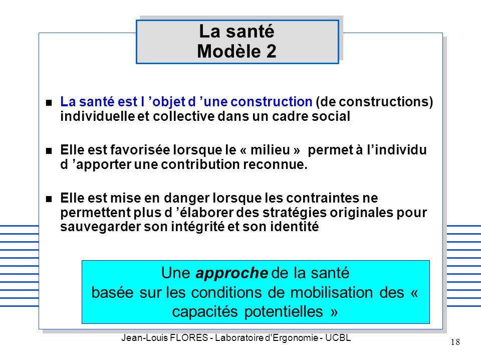 Jean-Louis FLORES - Laboratoire d'Ergonomie - UCBL 18 La santé Modèle 2 n La santé est l objet d une construction (de constructions) individuelle et c