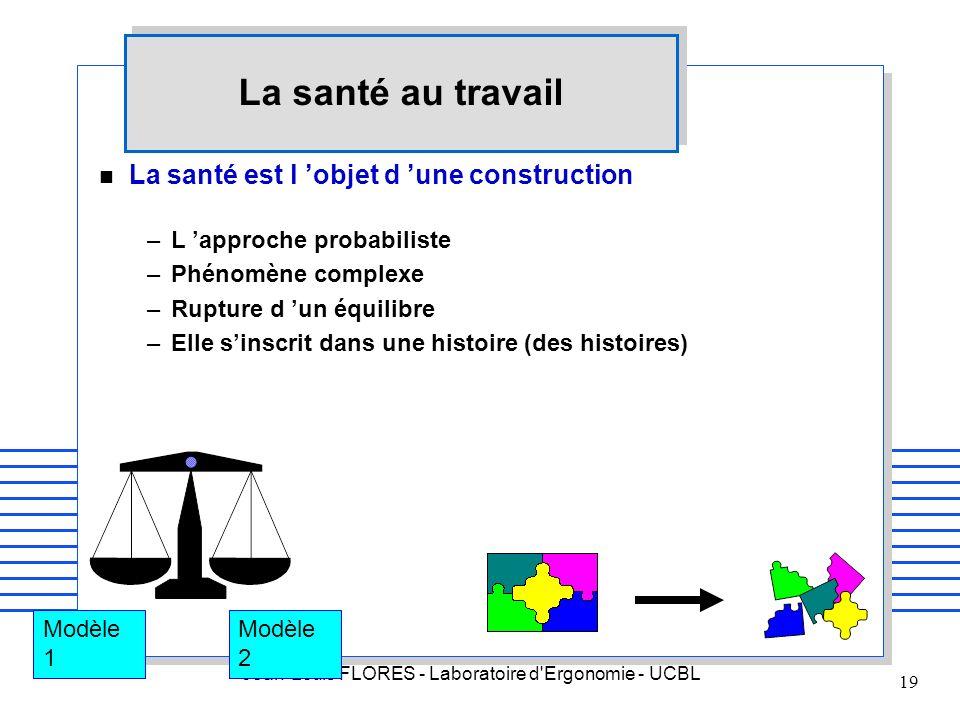 Jean-Louis FLORES - Laboratoire d'Ergonomie - UCBL 19 La santé au travail n La santé est l objet d une construction –L approche probabiliste –Phénomèn